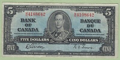1937 Bank of Canada 5 Dollar Note - Gordon/Towers - M/C41088642 - VF