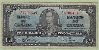 1937 Bank of Canada 5 Dollar Note - Gordon/Towers - D/C4706434 - Fine