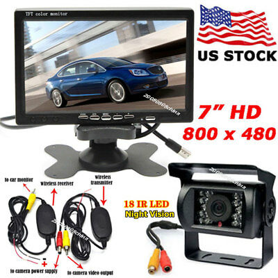 """7"""" Wireless HD LCD Monitor + 18LEDs IR Night Backup Rear View Camera for RV Bus"""