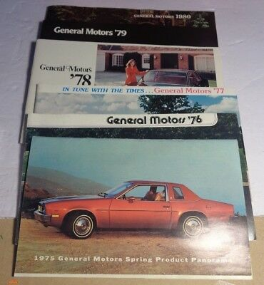 6 Collectible General Motors Car Company Product Catalogs 1975-1980