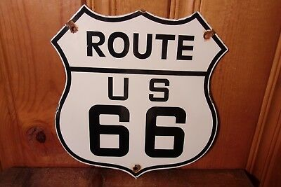 Vintage Us Route 66 Porcelain Highway Road Map Travel Auto Plate Sign