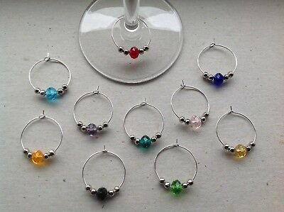 HANDMADE SET OF 10 beaded wine glass charms, dinner party