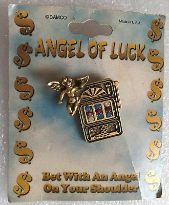 Goldtone Guardian Angel Of Luck Slots Lucky Casino Pin Brooch With Rhinestones