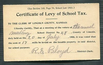Lincoln County Kansas  Certificate of Levy School Tax  1905 Postal Card