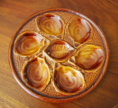 WONDERFUL VINTAGE MID CENTURY ST CLEMENT n QUIMPER CABINET BROWN OYSTER PLATE #2