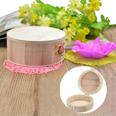 1pc Handmade Wooden Round Jewelry Ring Box Wood Creative Crafts Storage Box DIY