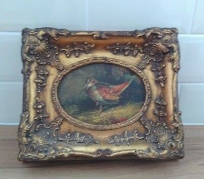 "Antique/Vintage Oil painting in Gilt frame 13"" by 10"" ""mill,d boards"" on rear"