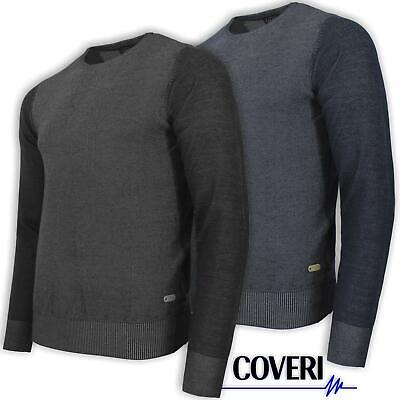 Maglione Uomo Girocollo Blu e Nero COVERI MOVING Microfantasia M L XL XXL 3XL