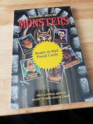 USPS 1997 Classic Movie Monster Book of 20 Pre-stamped (20c) Postcards  NEW/MINT