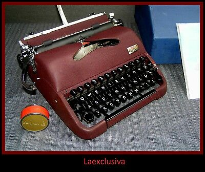 Fabulous BURGUNDY GROMA N Typewriter 1950s. WORKING ! (video+ pictures inside )