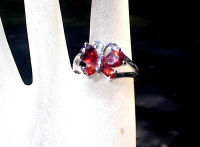STUNNING Vintage HIGH END RING 8 1/2 RED RHINESTONE BUTTERFLY SILVER 925 G713
