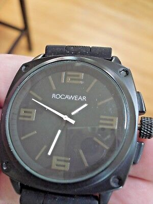 Rocawear Mens Watch Stainless Steel Black Silicone Strap Needs