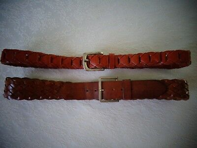 ~Pair of Vintage Men's Brown Leather Belts 38 Good Quality & Condition~