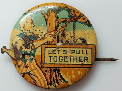 Vtg 1940s WWII US Home Front Uncle Sam Let's Pull Together Mechanical Pin Button