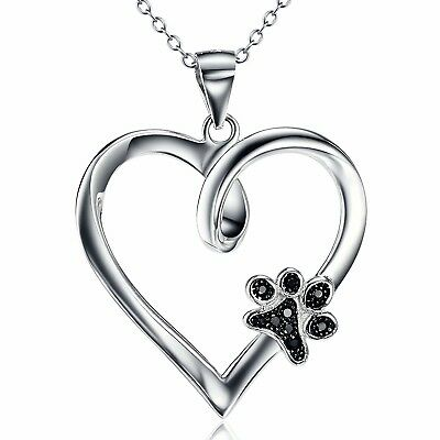 925 Sterling Silver Forever Love Heart Puppy Paw Pendant Necklace, Rolo Chain 18