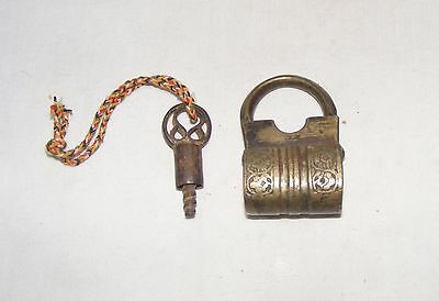 Old Vintage Handcrafted Unique Brass Pad Lock With Original Key Collectible 001
