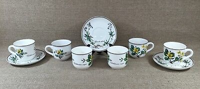 Villeroy & Boch Luxembourg Botanica 6 Flat Demitasse Cups With 3 Saucers