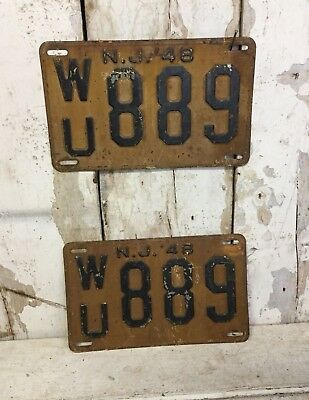 Vintage New Jersey License Plate 1948