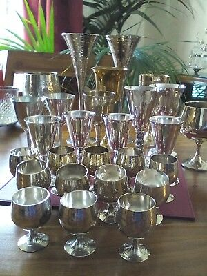 A VINTAGE SILVER JOB LOT - WINE GOBLETS, mixed lot EPNS, silver plated