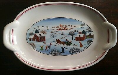 Villeroy & Boch Naif Christmas Handled Pickle Dish Oval Handled Snack Plate
