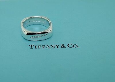 Tiffany & Co. Sterling Silver Square Cushion Wide Band Ring Size 10  - Heavy