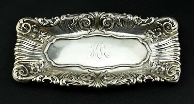 """Whiting Sterling Silver Repousse Rectangle Pen Tray Trinket Dish 9"""" x 4.5"""""""