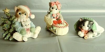LOT of 3 Christmas Holiday Calico Kittens by Enesco