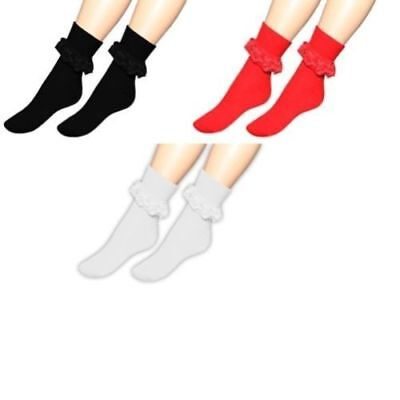 Ladies Womens Girls Plain Frilly Lace Ankle Socks Fancy Party Casual Home Wear »