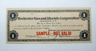 Vintage 1933 SAMPLE Rochester New York Gas & Electric 1 Dollar Bank Certificate