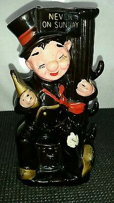 "Vintage 1960's Made In Japan ""never On Sunday""street Post Drunk Whiskey Decanter"
