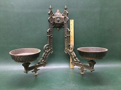 Antique Eastlake Victorian Ornate Cast Iron Oil Lamp Holders Double Arm  Sconce