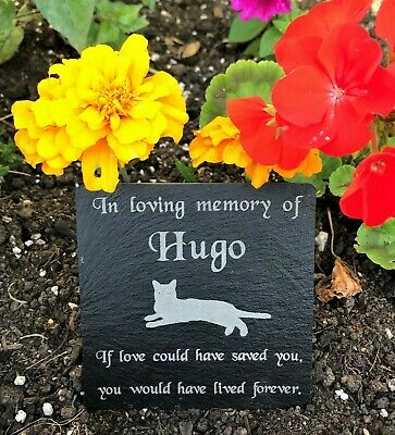 Personalised Engraved Pet Memorial Natural Slate Grave Marker Plaque for a Cat