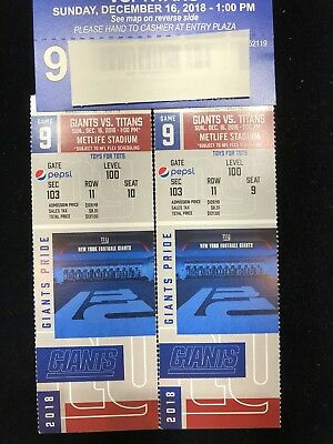 2 New York Giants tickets vs Titans 12/16. MetLife Stadium- Row 11. Parking Pass