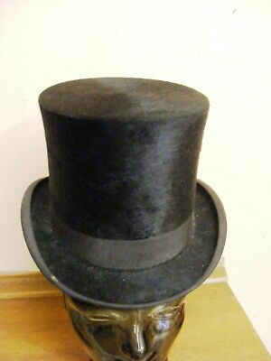 Antique black silk top hat Extra Quality Formal Steampunk Victorian 55cm small
