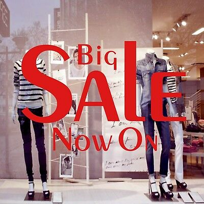 2x Big SALE Now On Shop Window Sign Retail Display Decal Vinyl Stickers 55x37 v5