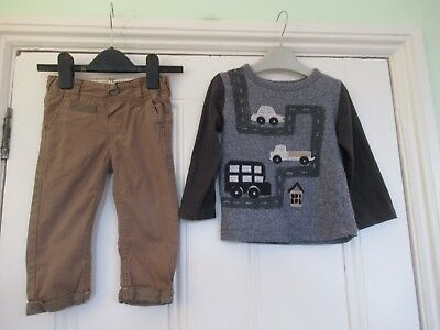 12-18m: Cute outfit: M&S Autograph brown chino/trousers & NEXT applique cars top