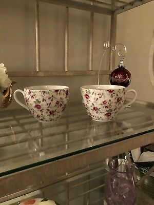 Vintage 1920's Lefton China - 16 oz. Rose Chintz Tea Cups