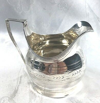 Antique Vintage Signed English Hallmark Silver Creamer London