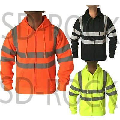 Hi Viz Vis High Visibility Full Zip Fleece Hoodie Hoody Work Sweatshirt Jacket