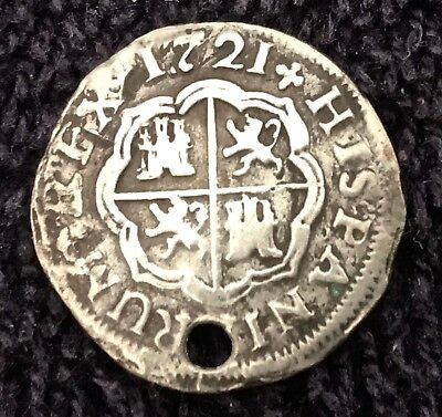 1721 Spain Silver One Real Colonial Phillip V