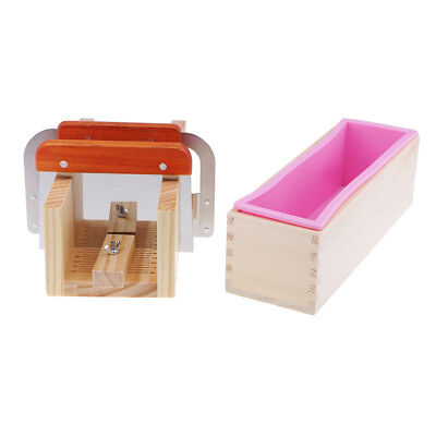 Silicone Soap Mold Mould Wooden Box Loaf Cake Cutting Slicer Cutter DIY Tool
