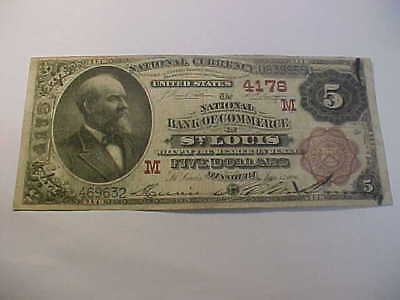 1882 Brown Back $5  National Currency Banknote Charter 4178 St Louis Missouri