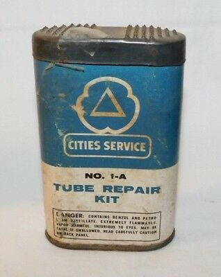 RARE old Cities Gas Tube Repair Kit Advertising Motorcycle Car Tire Patch Tin