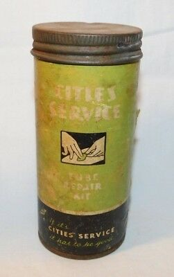 RARE old Cities Gas Tube Repair Kit Advertising Motorcycle Car Tire Patch Tin #2