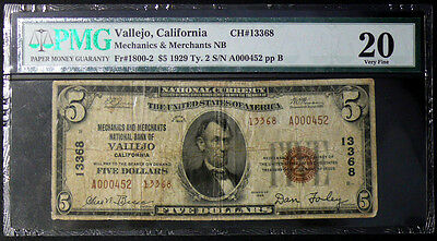 Vallejo, CA $5 Mechanics & Merchants Natl Bank CH# 13368 SERIAL #452  VF-20 RARE