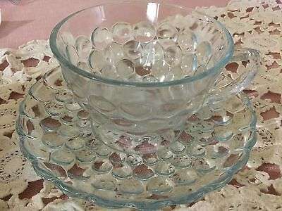 Anchor Hocking Cup And Saucer Blue Bubble Glass