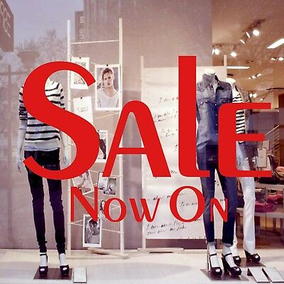 SALE Now On Shop Window Sign Retail Store Decal Display Vinyl Stickers 78x52  v3