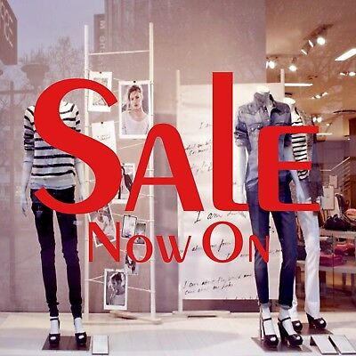 2x SALE Now On Shop Window Sign Retail Store Display Decal Vinyl Stickers 55x37