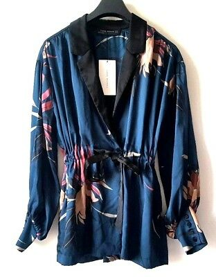 ZARA FLORAL printed BUTTONED kimono jacket with belt size XL UK 14