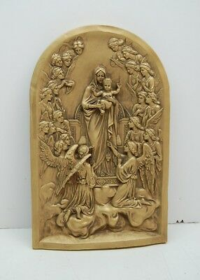 + Madonna and Child Statue Wall Plaque w/Angels + Mary & Angels + chalice co.